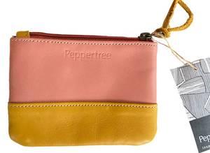 Bilde av Pengepung i skinn - Rosa og gul